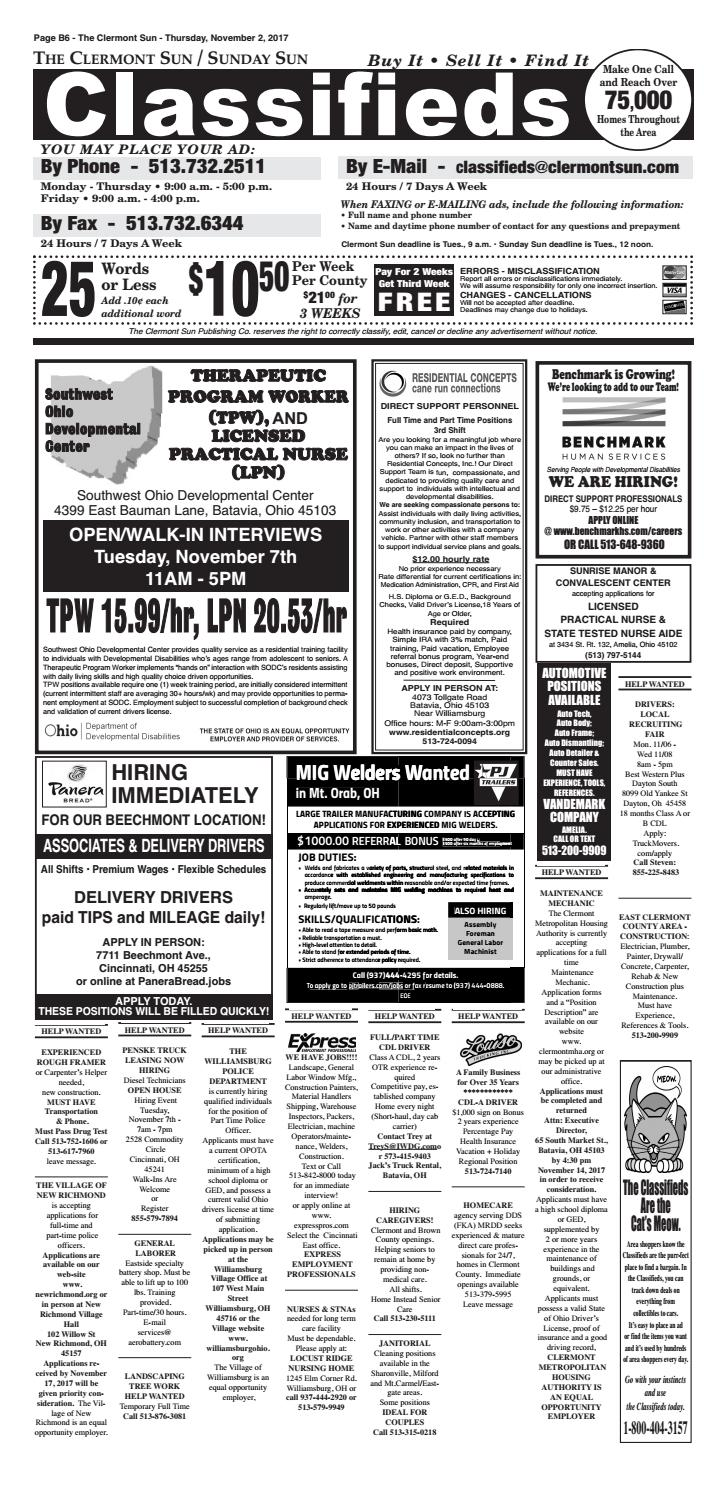 Clermont Sun Classifieds November 2 2017 By Clermont Sun