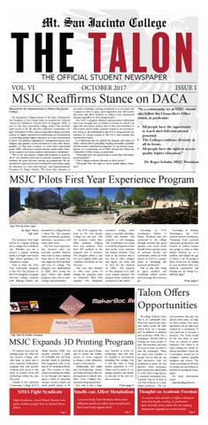 Oct 2017 full issue by Mt  San Jacinto College Talon - issuu
