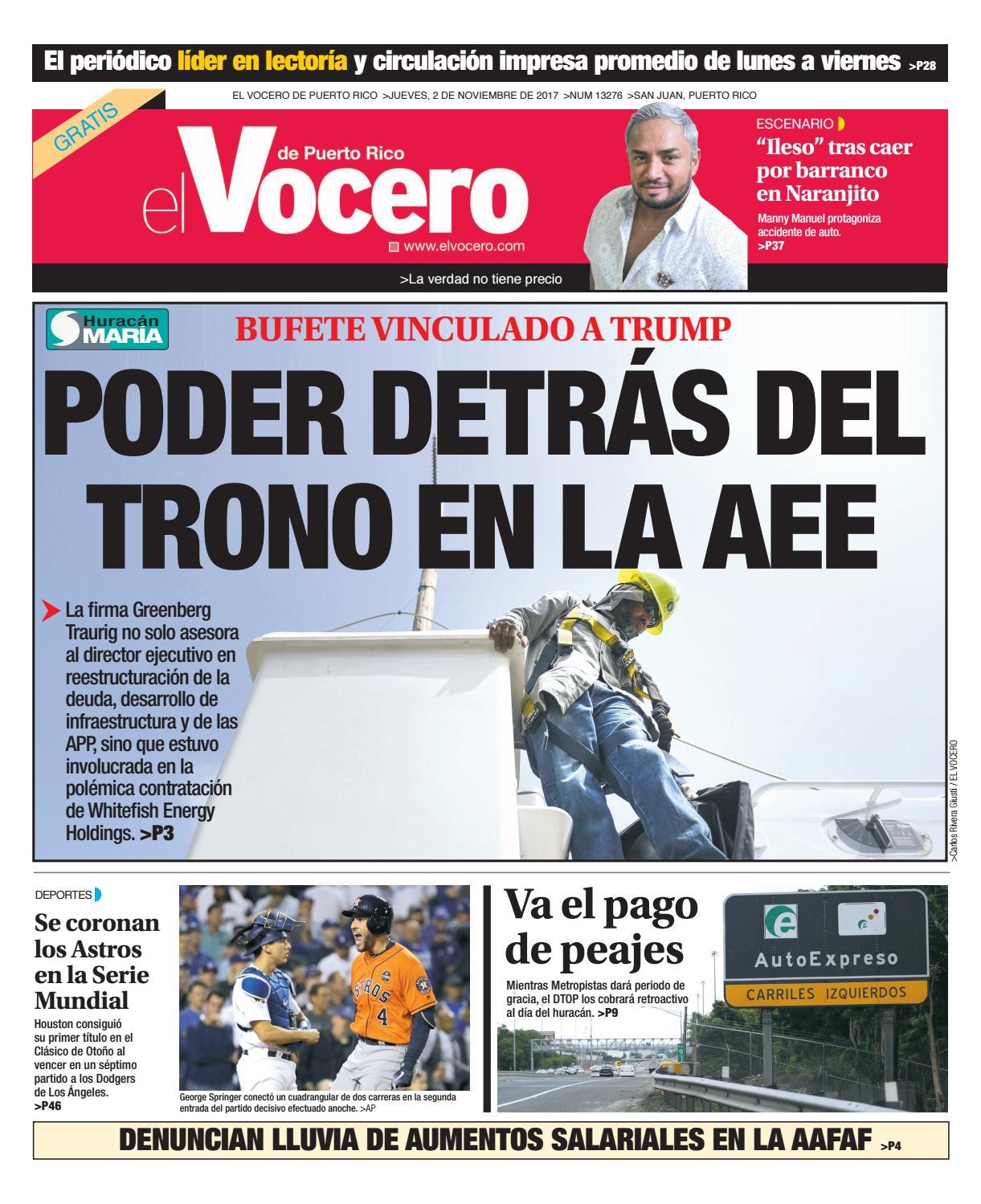 ae33b8e1a603 Edición del 2 de noviembre de 2017 by El Vocero de Puerto Rico - issuu
