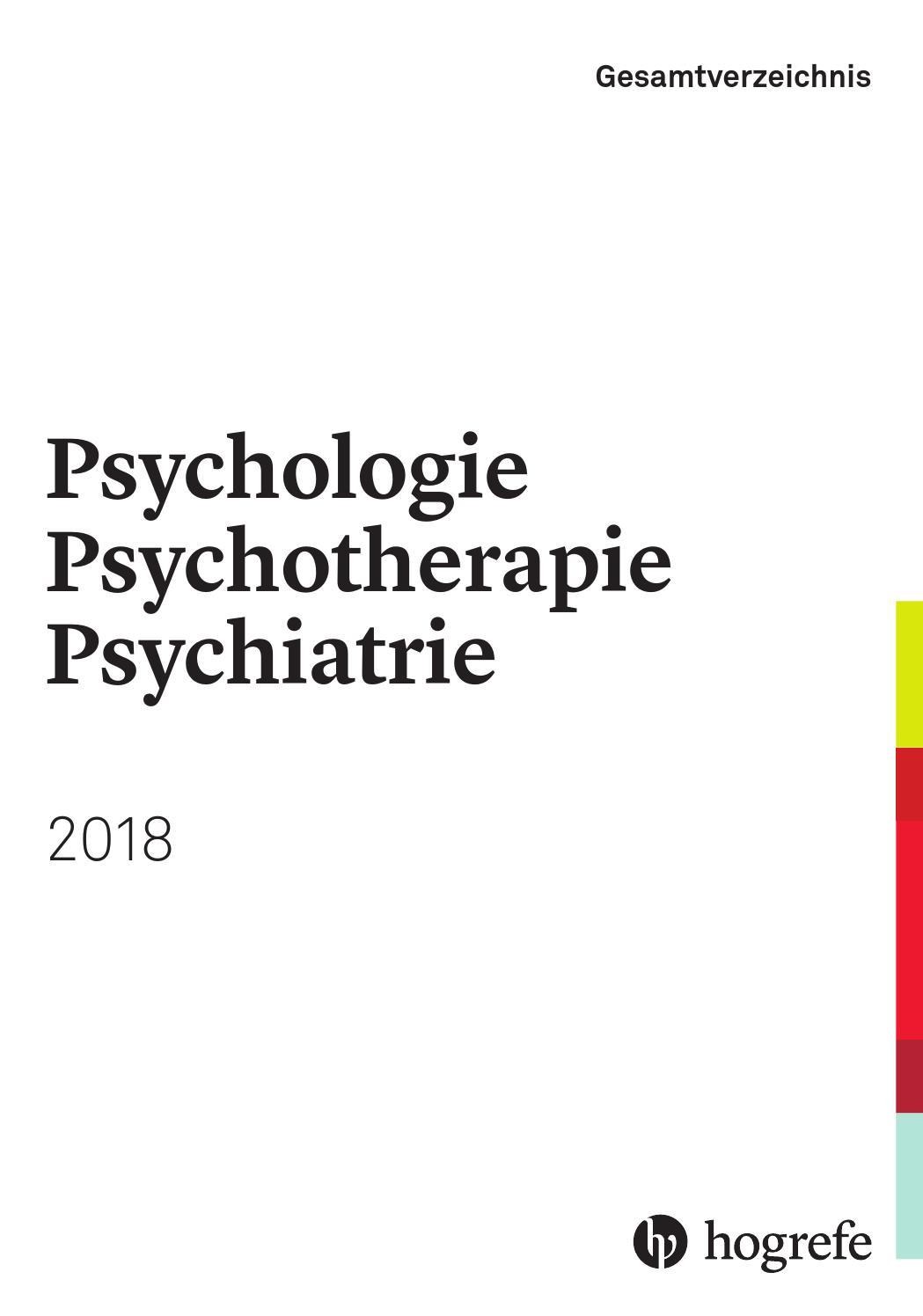 Hogrefe Gesamtverzeichnis Psychologie, Psychotherapie, Psychiatrie ...