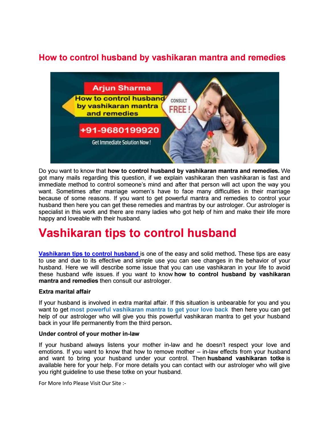 Vashikaran tips to control husband   +91-9680199920 by Arjun