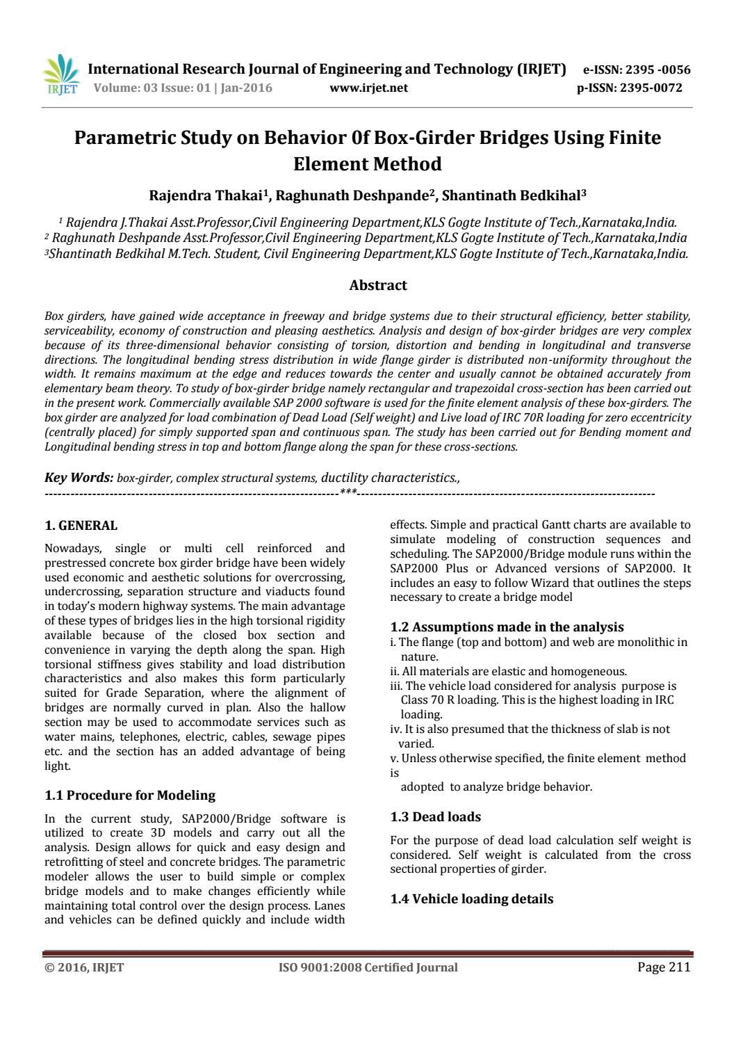 Parametric Study on Behavior 0f Box-Girder Bridges Using