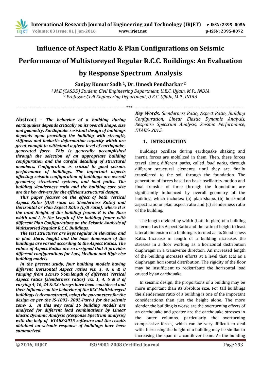 Influence of Aspect Ratio & Plan Configurations on Seismic Performance of  Multistoreyed Regular R C