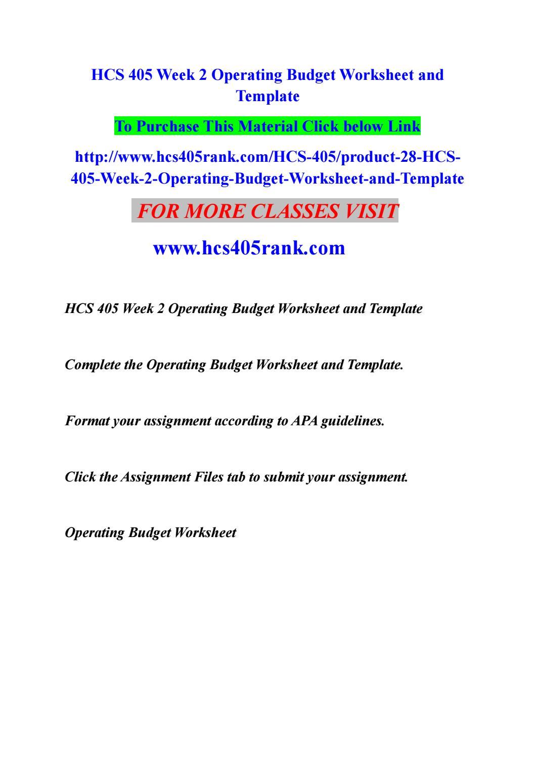 Hcs 405 Week 2 Operating Budget Worksheet And Template By Deva5p Issuu
