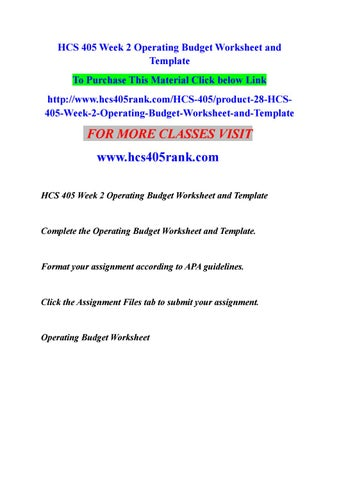 Hcs  Week  Operating Budget Worksheet And Template By DevaP  Issuu