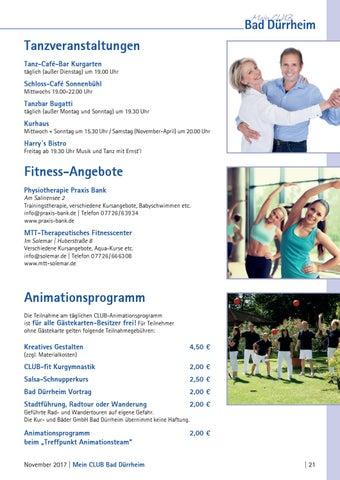 """magazin """"mein club bad dürrheim"""" november 2017kur- und bäder"""
