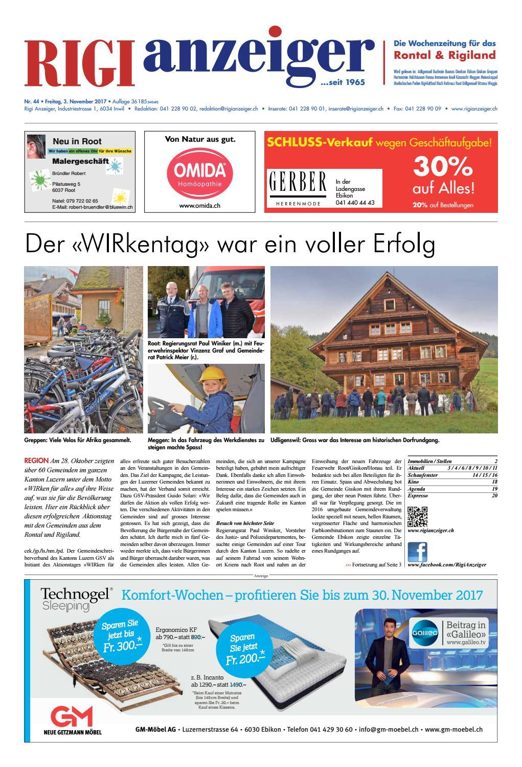 Rigi Anzeiger, 3. November 2017 by Rigi Anzeiger GmbH - issuu