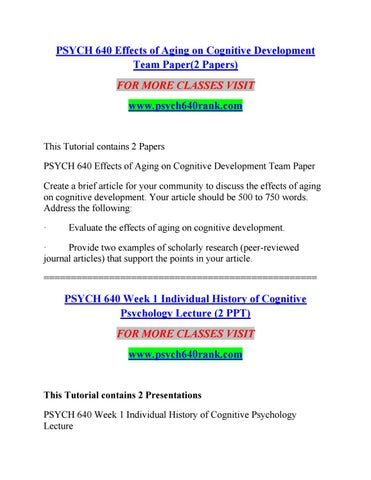 Psych 640 Effects Of Aging On Cognitive Development Team Paper2