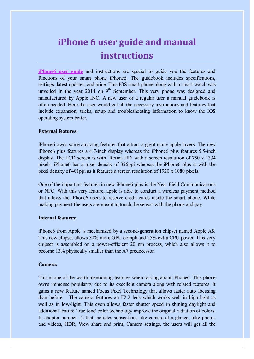 Iphone 6 User Guide And Manual Instructions By Iphone6 User Guide
