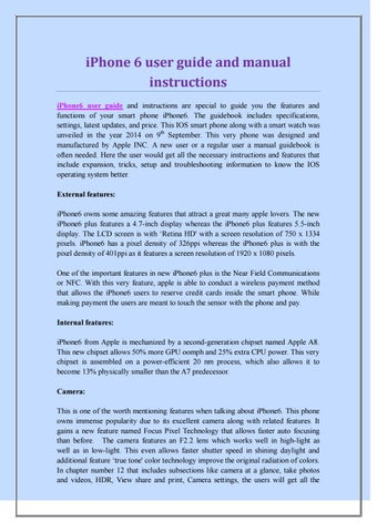 Iphone 6 Manual Instructions User Guide Manual That Easy To Read