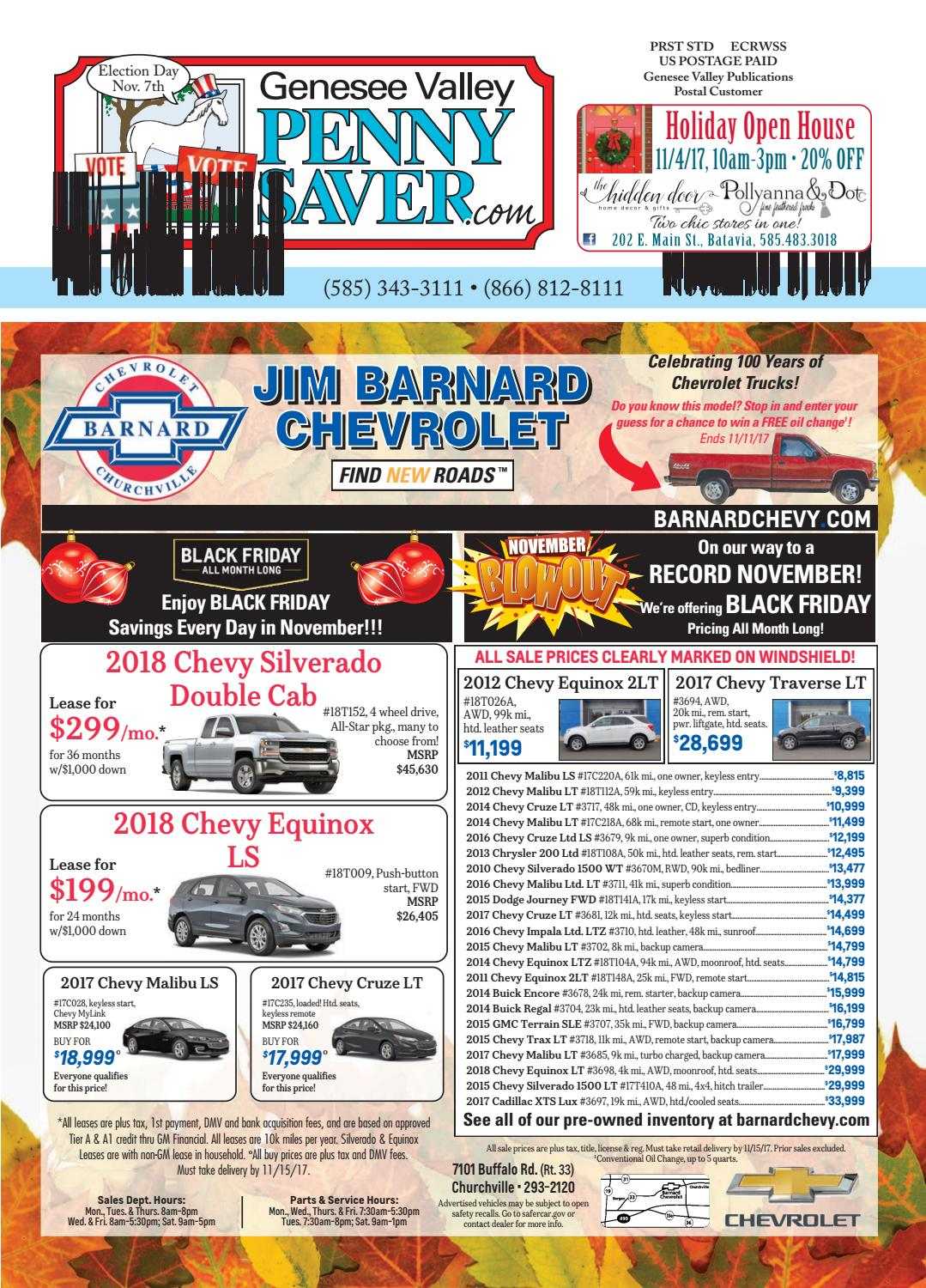 Oatka Edition of The Genesee Valley Penny Saver 11/3/17 by