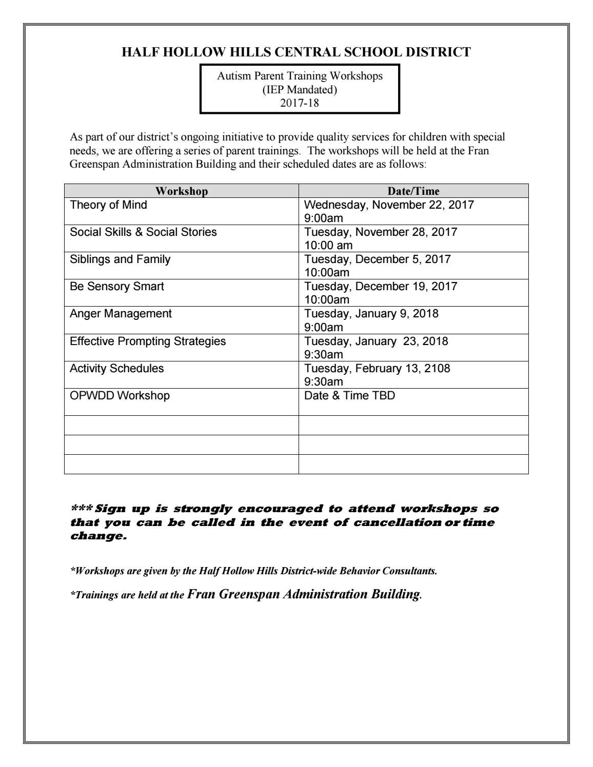 e0bd78ec9e9c6 Parent training schedule nov dec 2017 jan feb 2018 by Half Hollow Hills  Schools - issuu