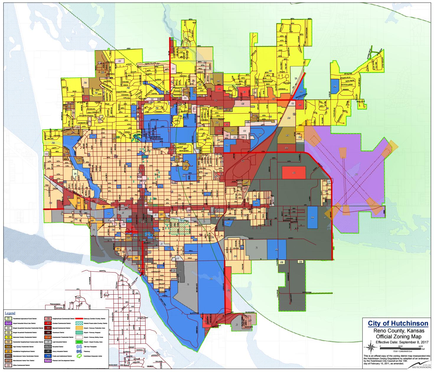Hutchinson Official Zoning Map by City of Hutchinson Planning ... on