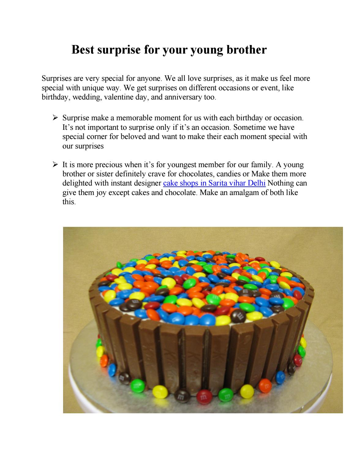 Order best surprise birthday cake for your young brother