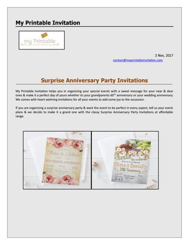 surprise anniversary invitation by my printable invitation issuu