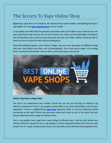 The secrets to vape online shop by Puff Puff Pass It - issuu