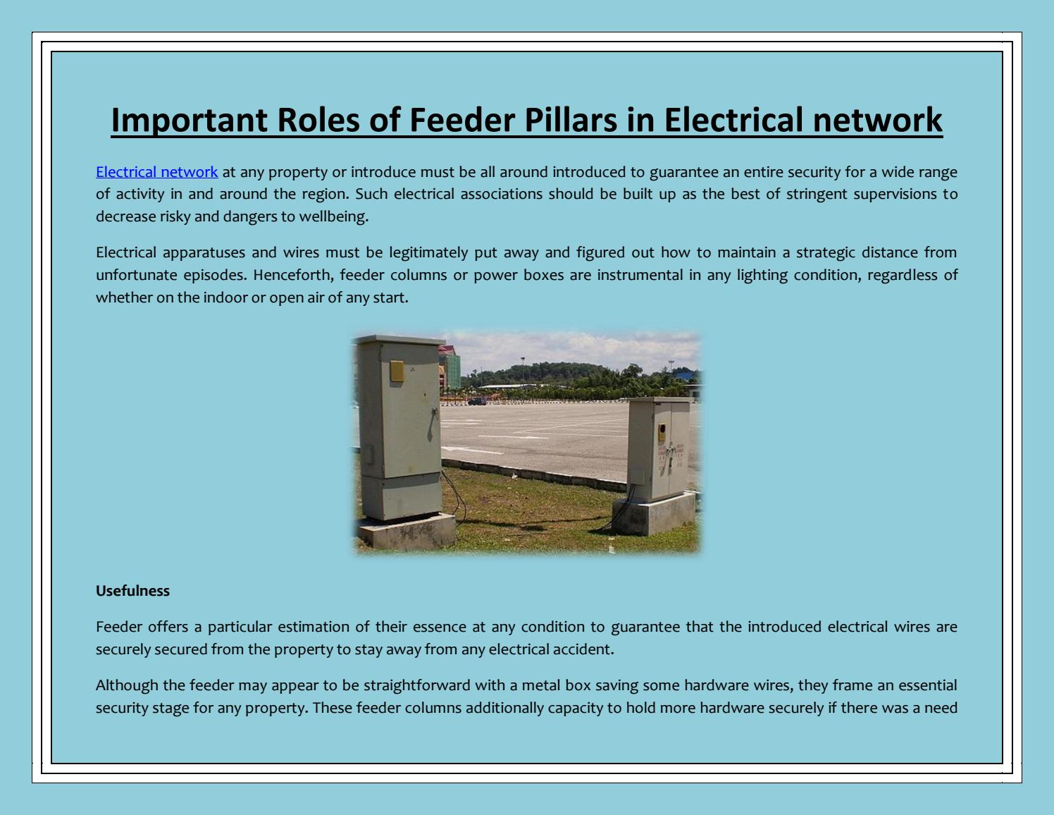 Important Roles of Feeder Pillars in Electrical network by ... on