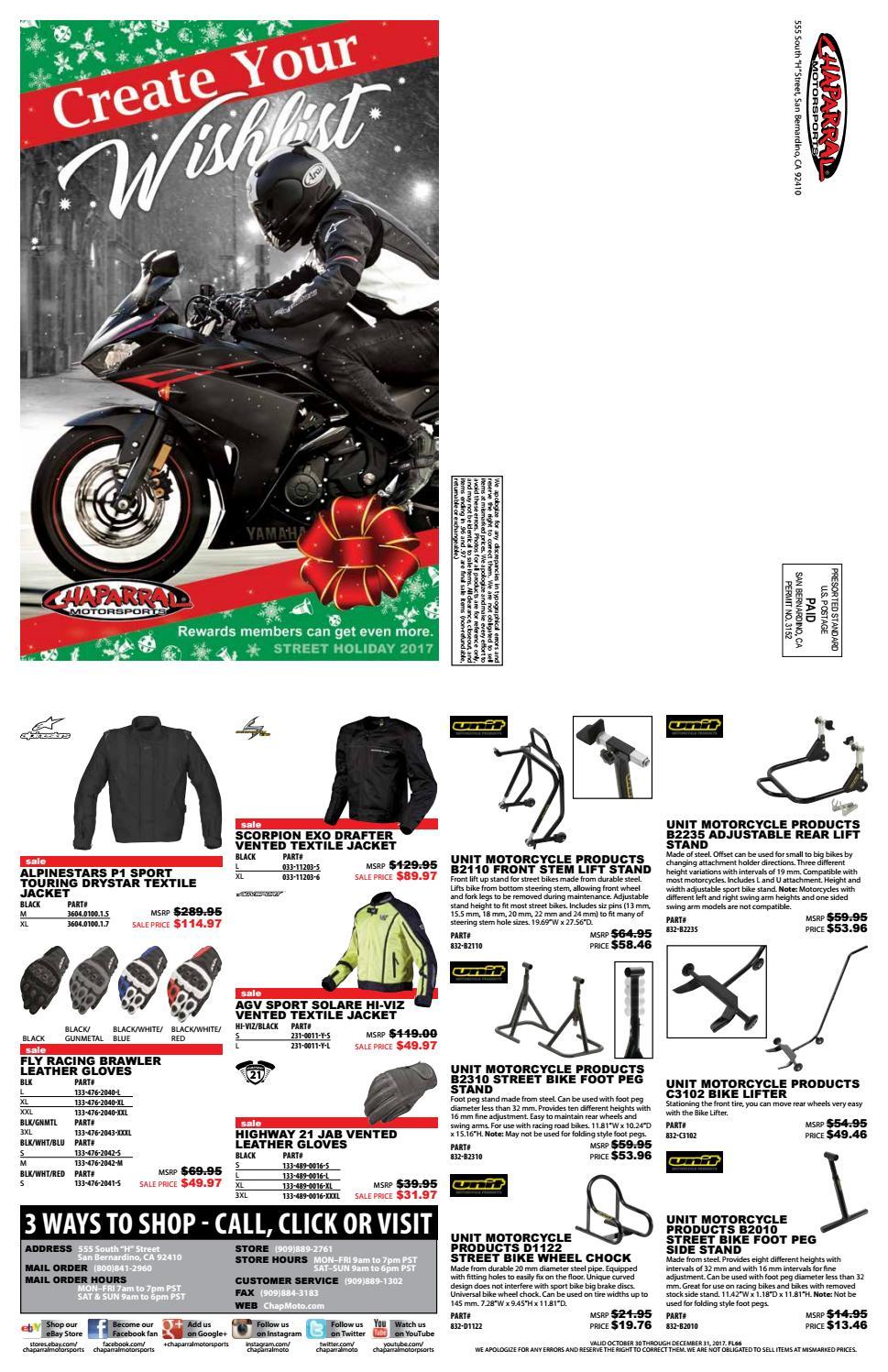 a9634258 Chaparral Chaparral Motorsports 2017 Street Bike Christmas Wish List Flyer  by ChapMoto.com | TwoWheelMania - issuu