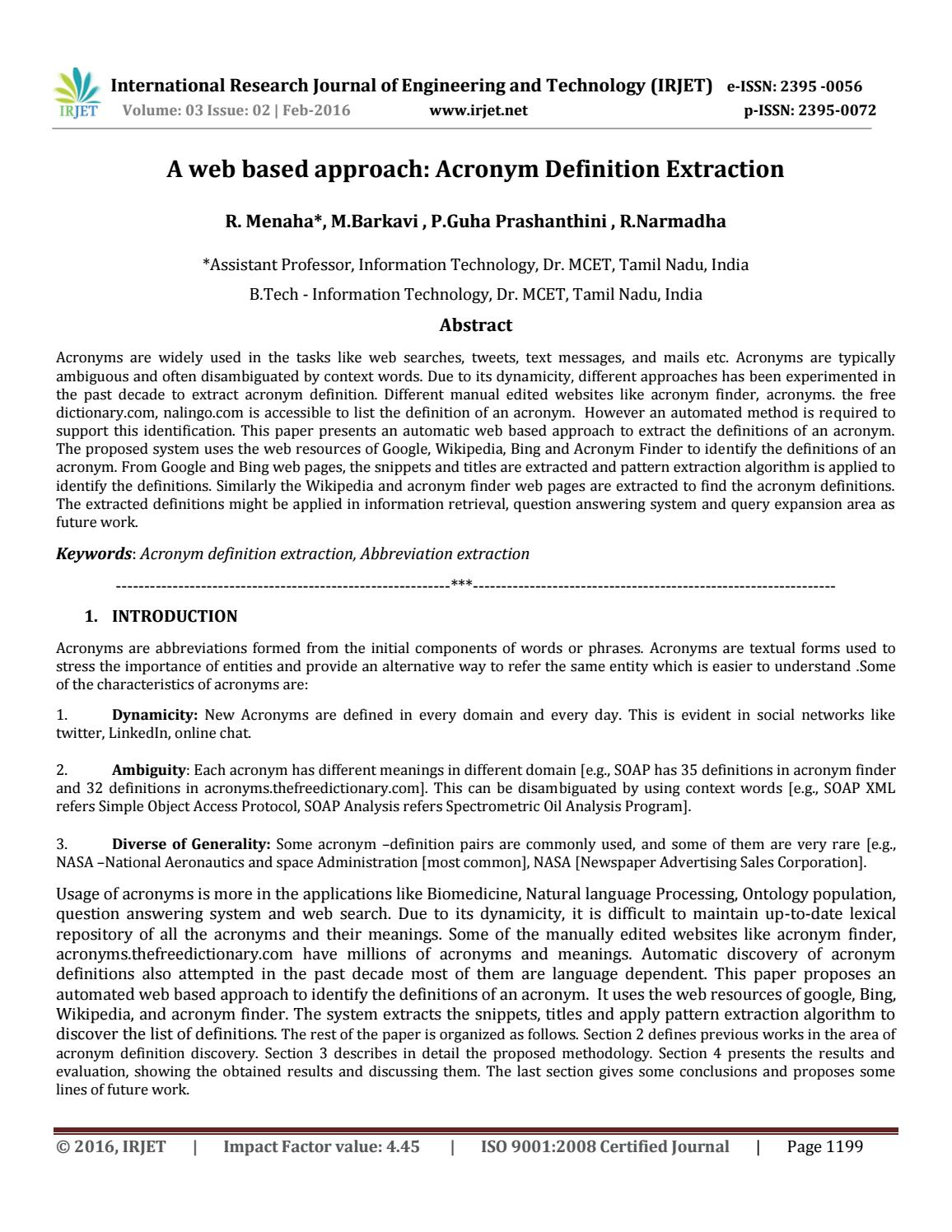 A web based approach: Acronym Definition Extraction by IRJET Journal