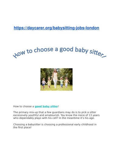 How to choose a good baby sitter by shane issuu