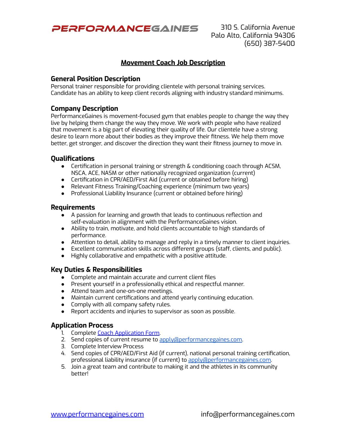 Job Description Pg Movement Coach By Performancegaines Llc Issuu