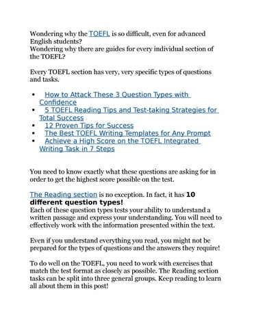 10 Types of TOEFL Reading Exercises You Must Master by Wiki TOEFL
