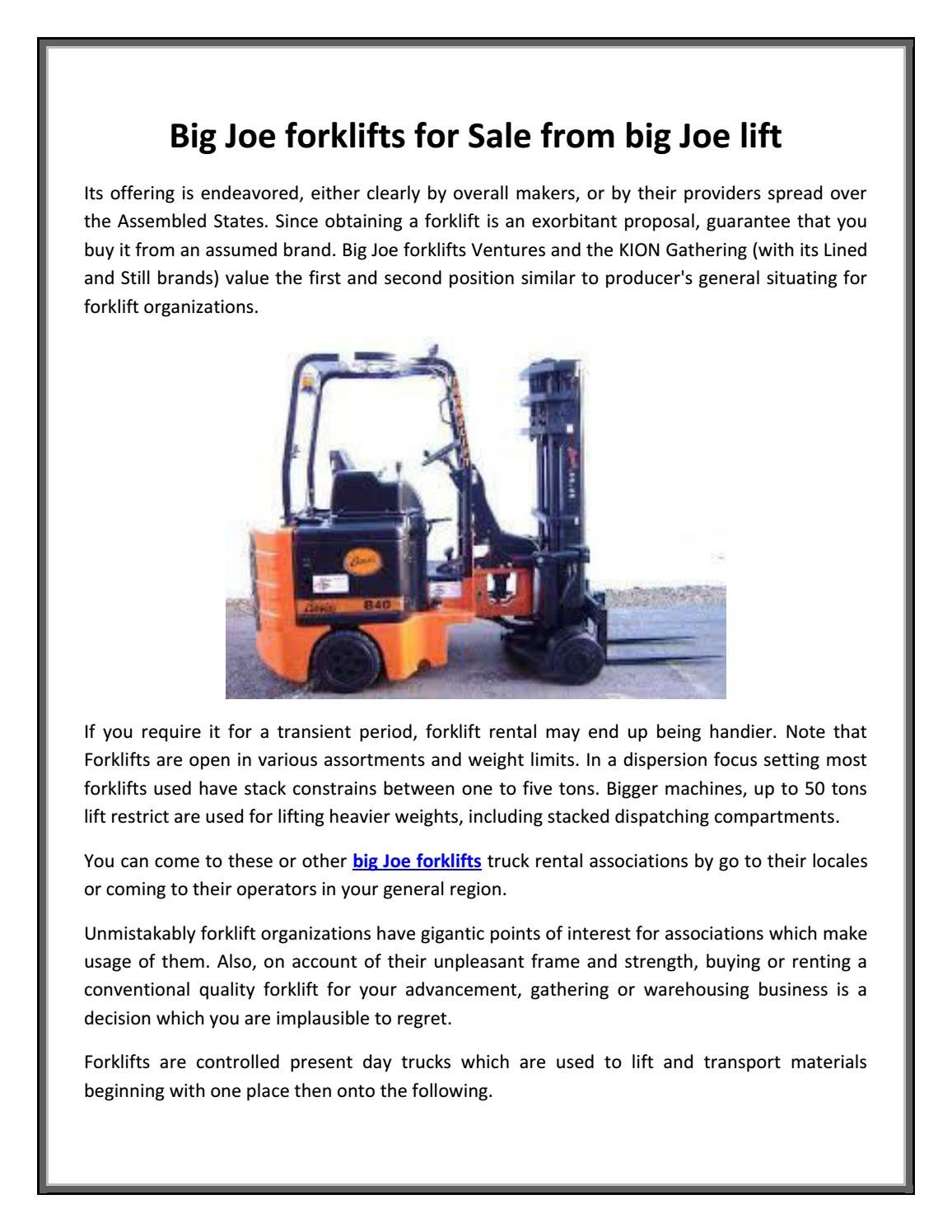 Big joe forklifts for sale from big joe lift by bigjoeliftca