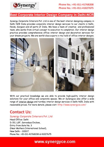 top corporate office interior designers in delhi by synergy