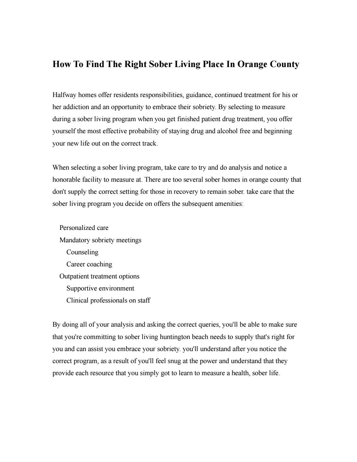 How To Find The Right Sober Living Place In Orange County By Arc Recovery Sober  Living   Issuu