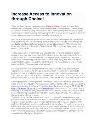 Increase access to innovation through choice! by Tyndale FRC