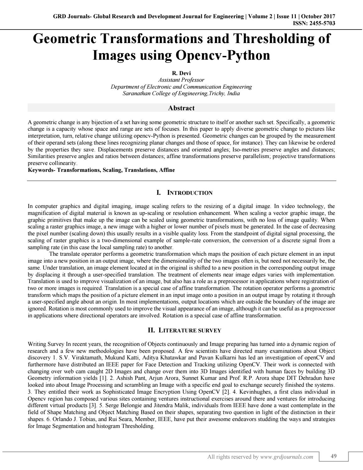 Geomentric Transformations and Thresholding of Images using Opencv