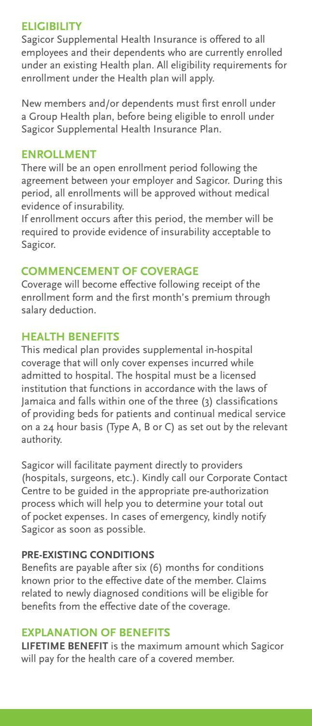 Sagicor Life Supplemental Health Insurance Plan Brochure ...
