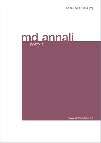 Annali Md Post It Journal 2014 Vol V By Md Material Design Issuu