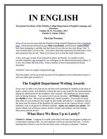 English News Vol 18 1 November 2017 By Whittier College Issuu