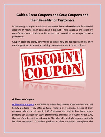 Golden scent coupons and souq coupons and their benefits for