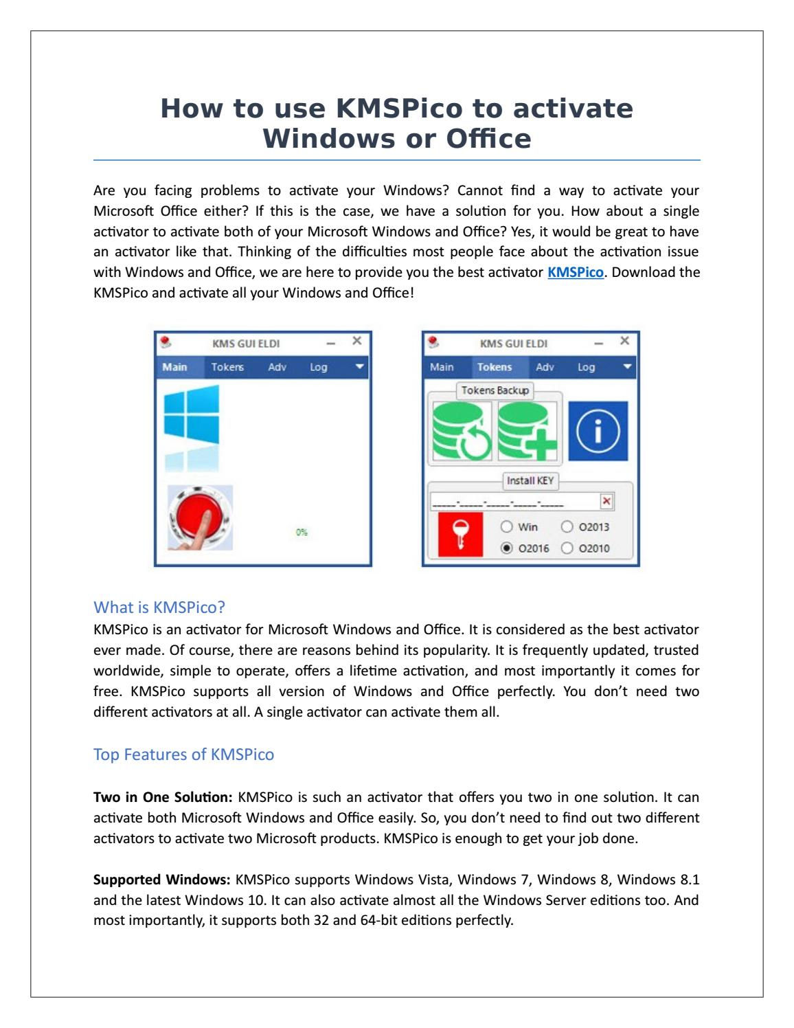 How to use kmspico to activate windows or office by IDM key - issuu