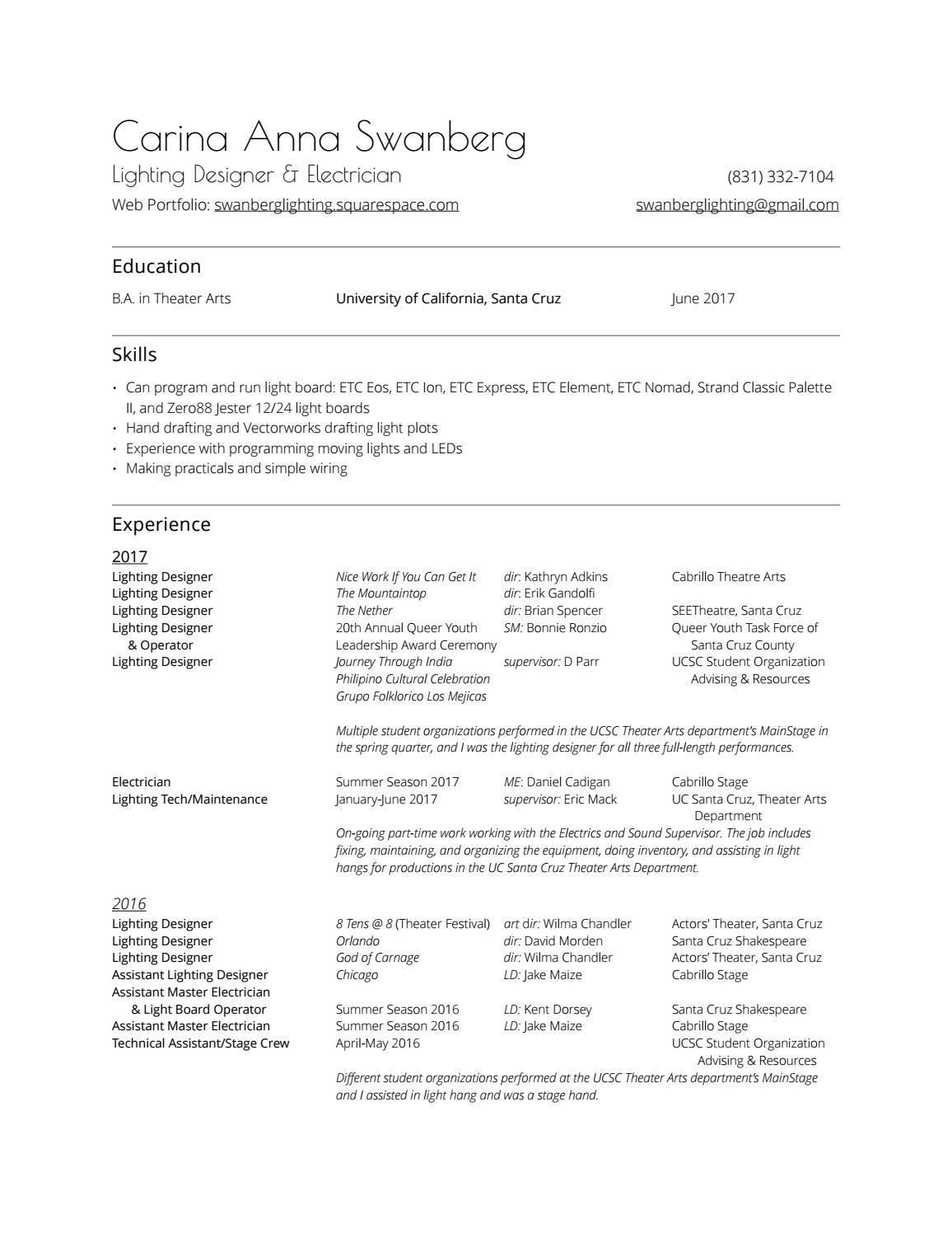 Portfolio resume 2017 v2 by Swanberg Lighting Design - issuu
