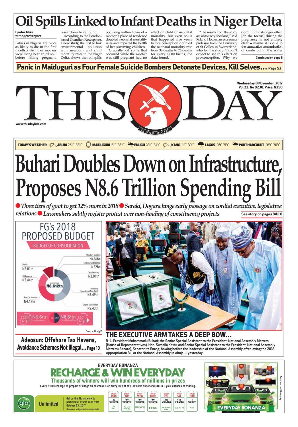 Wednesday 8th November 2017 by THISDAY Newspapers Ltd - issuu