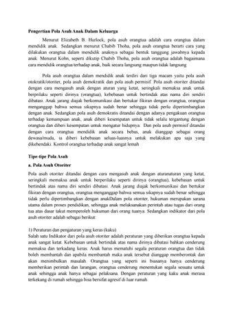 Materi Lengkapn Pola Asuh Anak Dalam Keluarga By Alwi Marthalita Issuu