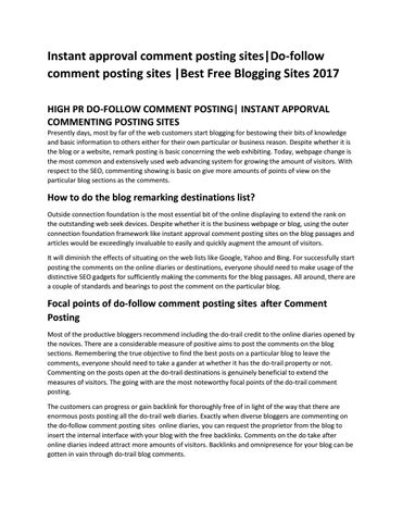 instant approval comment posting sites do-follow comment