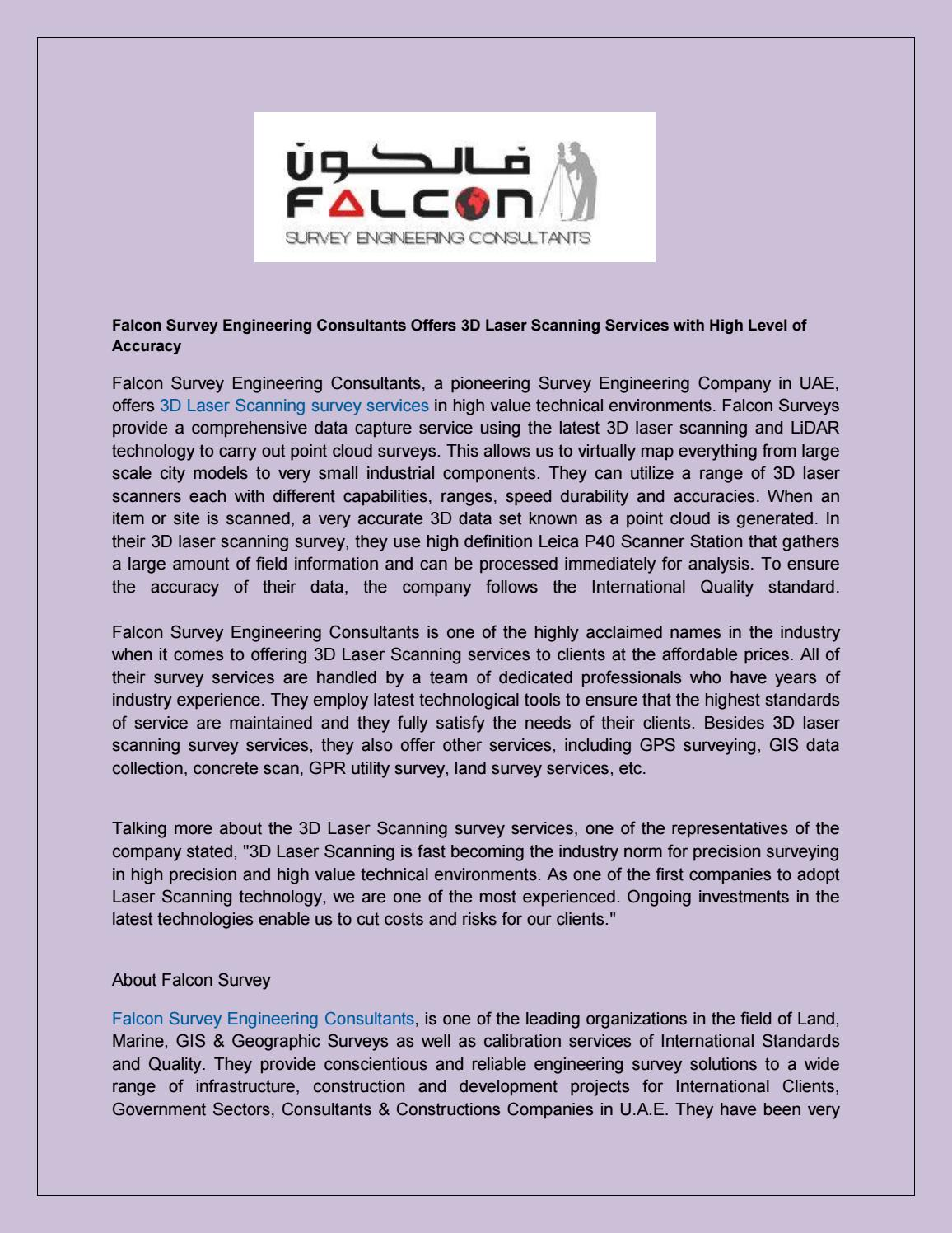 3d laser scanning survey services in uae by falconsurvey - issuu