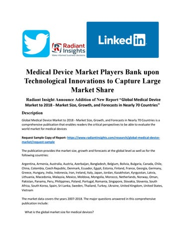 Medical device market players bank upon technological