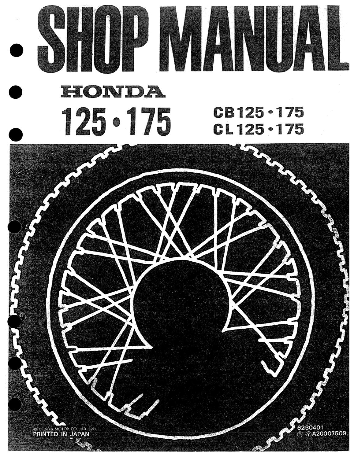 Shop Manual Honda Cb 125 175 1971 En By Alissa Olson Issuu Cb125 Wiring Diagram