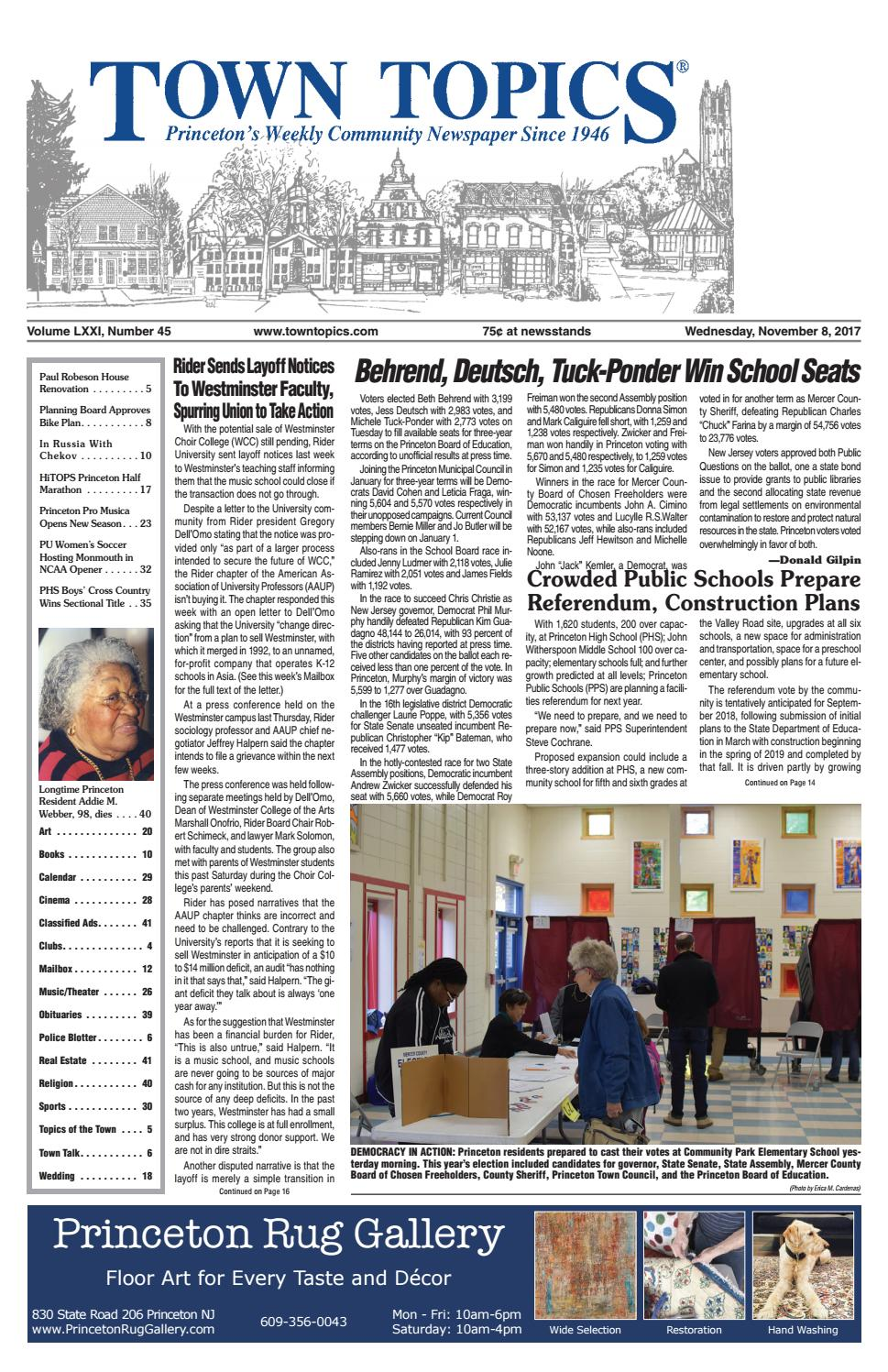 Town Topics Newspaper November 8 2017 By Witherspoon Media Group Frame Pato Fx 1 Alloy Issuu