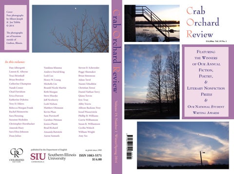 Crab Orchard Review Vol 19 No 1 W S 2014 By