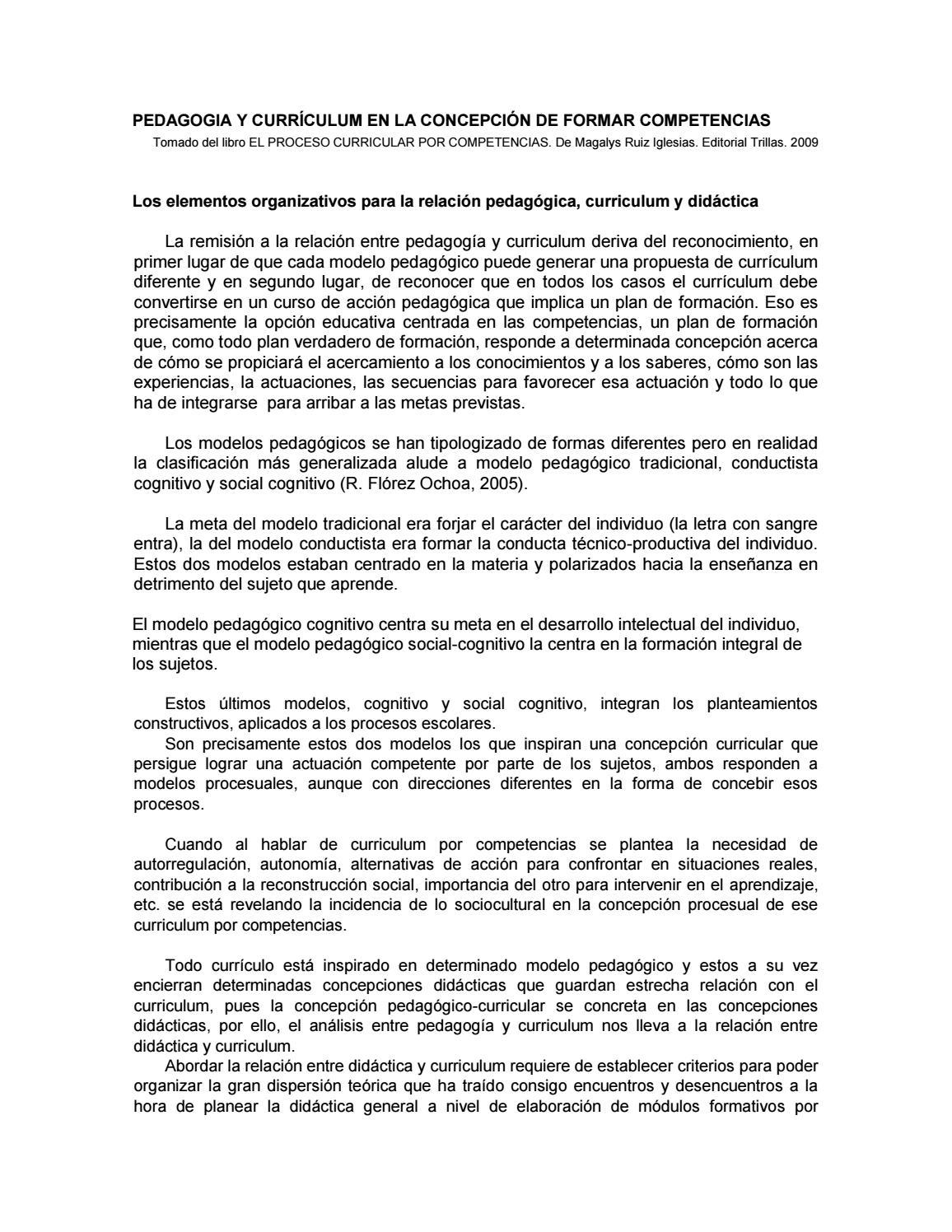 Pedagogia y currículum by Luz Castellanos - issuu