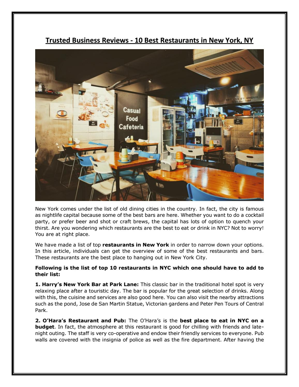 Trusted Business Reviews 10 Best Restaurants In New York By Trustedbusinessreviews Issuu