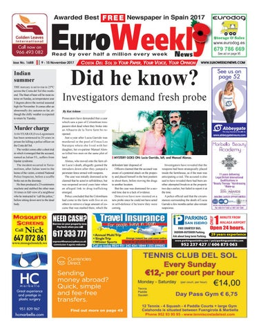 Euro weekly news costa del sol 9 15 november 2017 issue 1688 by page 1 fandeluxe Choice Image