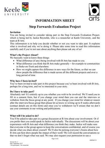 Step Forwards Information Sheet V September  Final By BArts