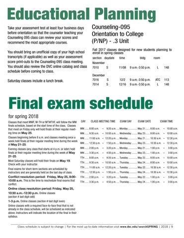Spring 2018 class schedule by Diablo Valley College - issuu